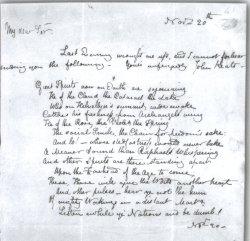 John Keats handwriting note